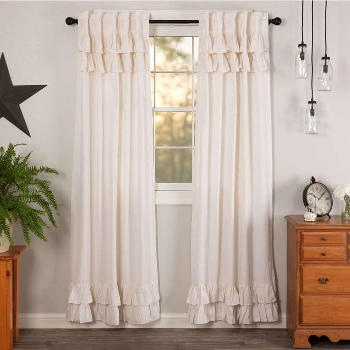 Simple Life Flax Antique White Ruffled Panel Country Curtain Set of 2 84