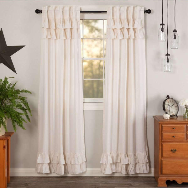 "Simple Life Flax Antique White Ruffled Panel Country Curtain Set of 2 84""x40"" - The Fox Decor"
