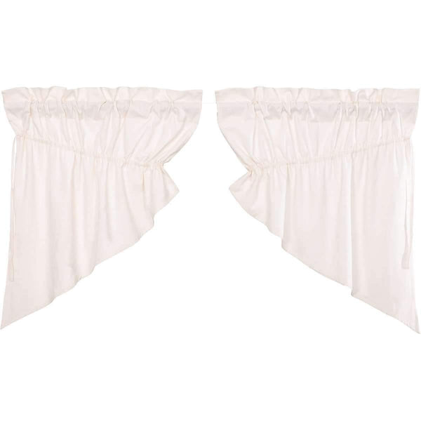 Simple Life Flax Antique White Prairie Swag Curtain Set of 2 36x36x18 VHC Brands online