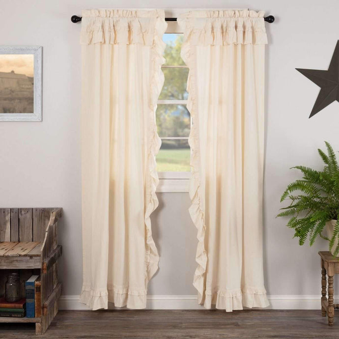 Muslin Ruffled Unbleached Natural Panel Curtain Set of 2 84