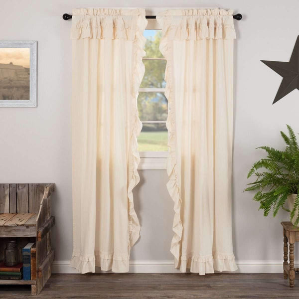 "Muslin Ruffled Unbleached Natural Panel Curtain Set of 2 84""x40"" VHC Brands - The Fox Decor"