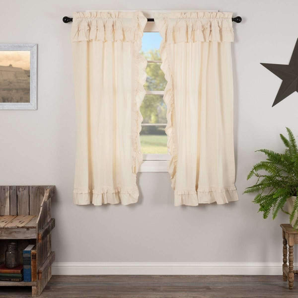 "Muslin Ruffled Unbleached Natural Short Panel Curtain Set of 2 63""x36"" VHC Brands - The Fox Decor"