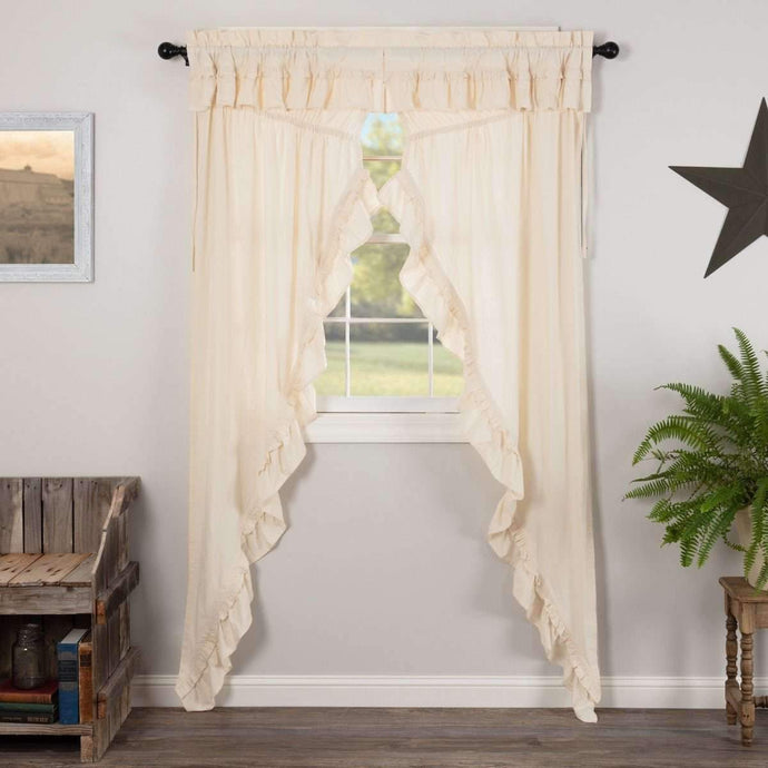 Muslin Ruffled Unbleached Natural Prairie Long Panel Curtain Set of 2 - The Fox Decor