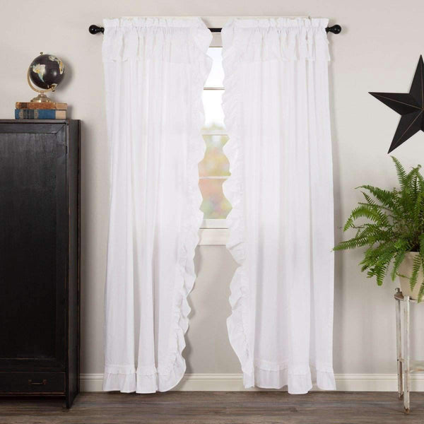 "Muslin Ruffled Bleached White Panel Curtain Set of 2 84""x40"" VHC Brands - The Fox Decor"