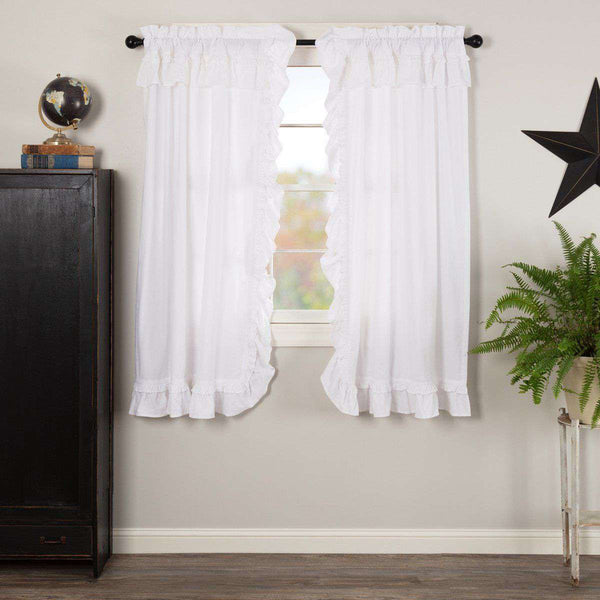 "Muslin Ruffled Bleached White Short Panel Curtain Set of 2 63""x36"" VHC Brands - The Fox Decor"