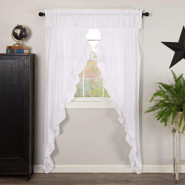 Muslin Ruffled Bleached White Prairie Long Panel Curtain Set of 2 84x36x18 VHC Brands