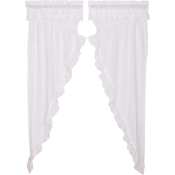 Muslin Ruffled Bleached White Prairie Long Panel Curtain Set of 2 84x36x18 VHC Brands zoom
