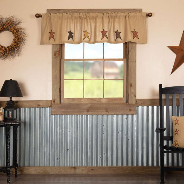 Stratton Burlap Applique Star Valance Curtain big