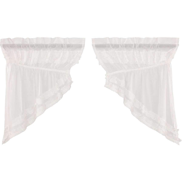White Ruffled Sheer Petticoat Prairie Swag Curtain Set of 2 - The Fox Decor