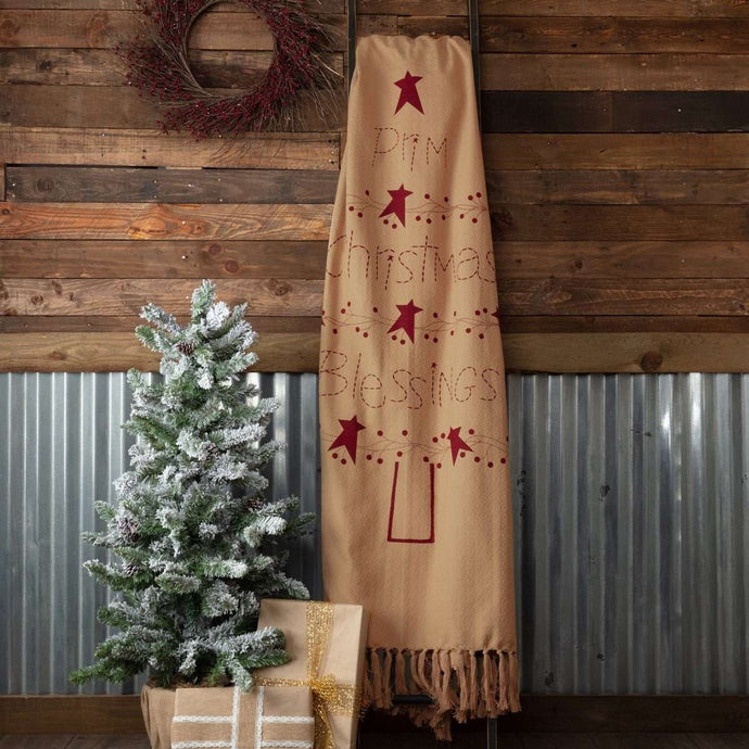 Prim Christmas Blessings Woven Throw 60