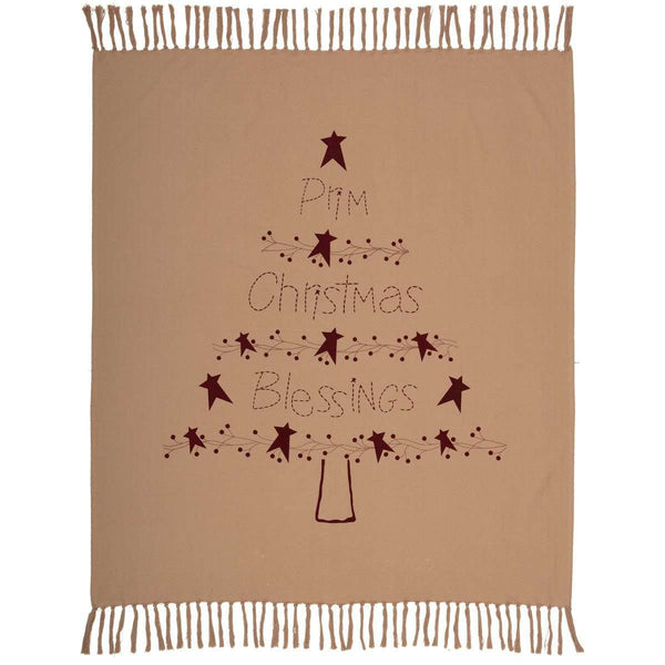 "Prim Christmas Blessings Woven Throw 60"" x 50"" Natural, Burgundy VHC Brands - The Fox Decor"