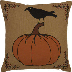 Heritage Farms Pumpkin and Crow Pillow 18x18 VHC Brands