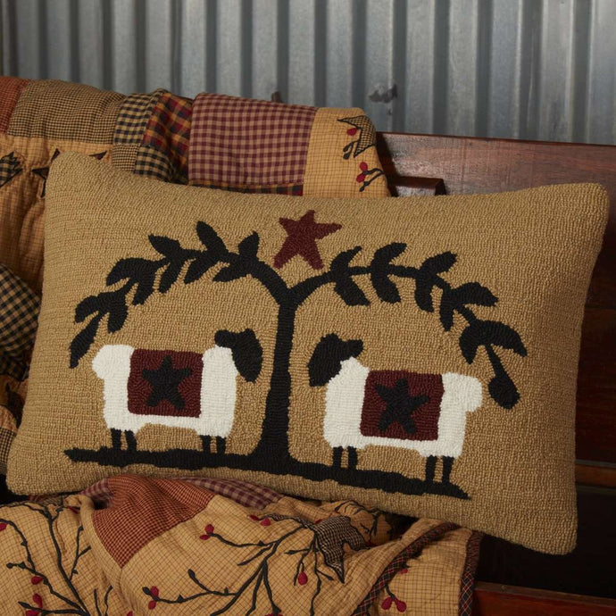 Heritage Farms Sheep and Star Hooked Pillow 14