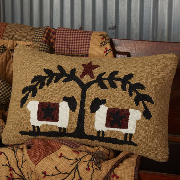 "Heritage Farms Sheep and Star Hooked Pillow 14""x22"" - The Fox Decor"