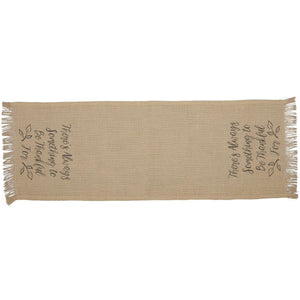 Jute Burlap Natural Thankful Runner 13x36 VHC Brands
