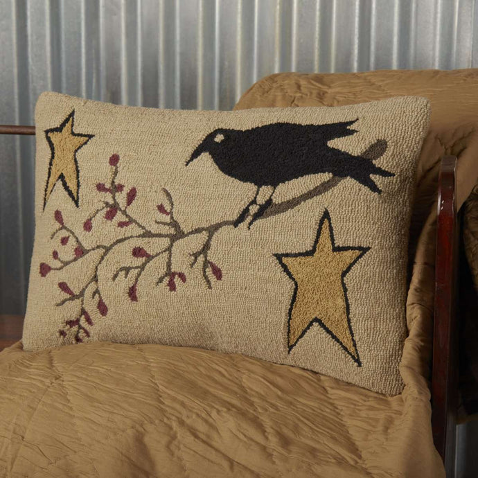 Kettle Grove Crow and Star Hooked Pillow 14