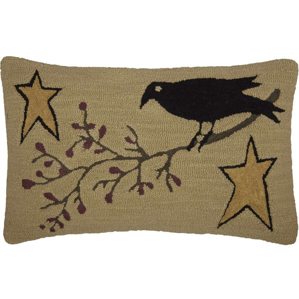 "Kettle Grove Crow and Star Hooked Pillow 14""x22"" - The Fox Decor"