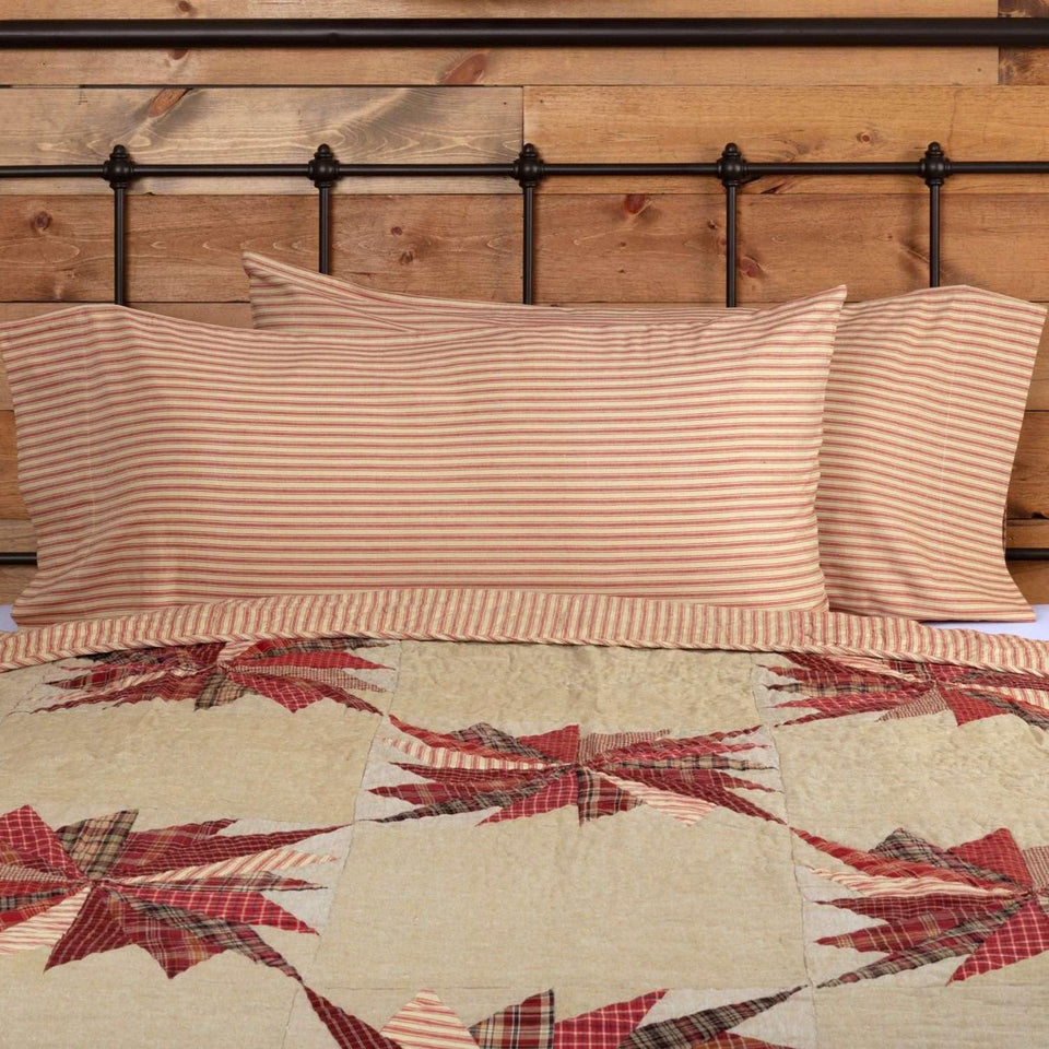 Ozark Red Ticking Stripe King Pillow Case Set of 2 21x40
