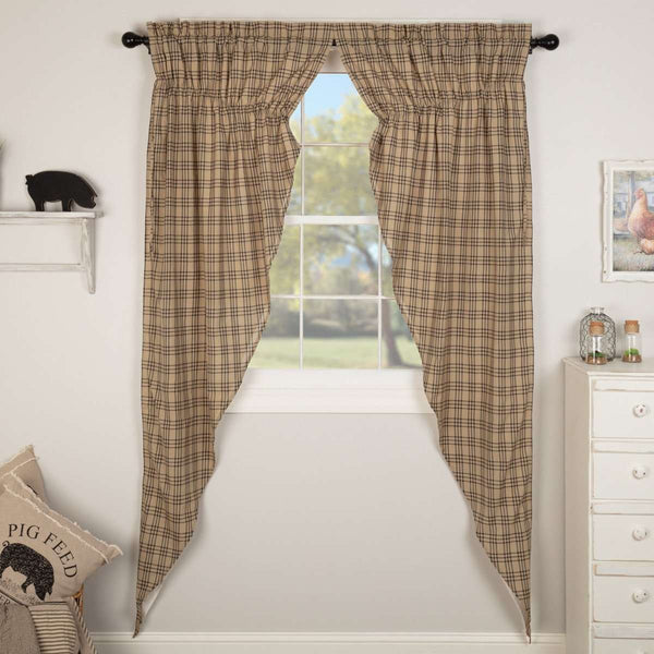 Sawyer Mill Charcoal Plaid Prairie Long Panel Curtain Set of 2 - The Fox Decor