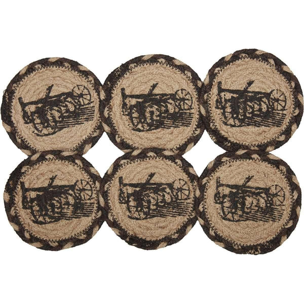 Sawyer Mill Charcoal Plow Jute Coaster zoom