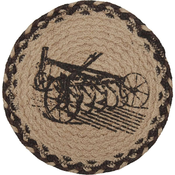 "Sawyer Mill Charcoal Plow Jute Trivet 8"" VHC Brands zoom"