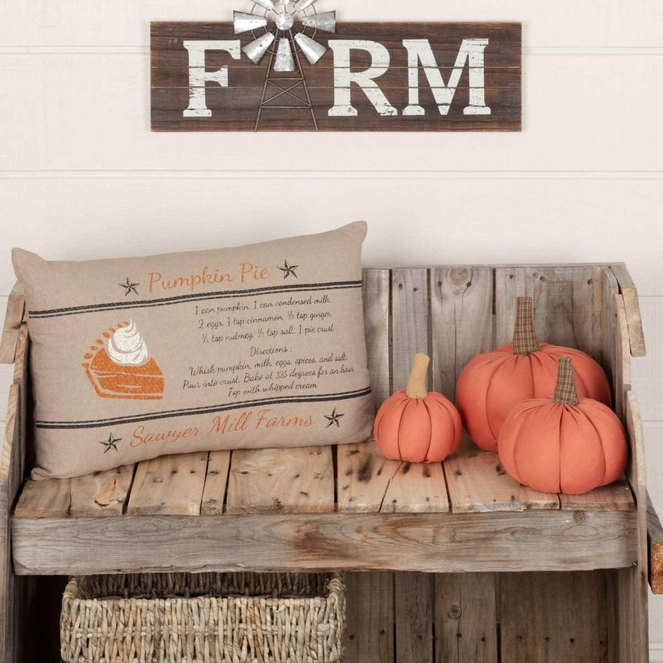 Sawyer Mill Charcoal Pumpkin Pie Recipe Pillow 14x22 VHC Brands