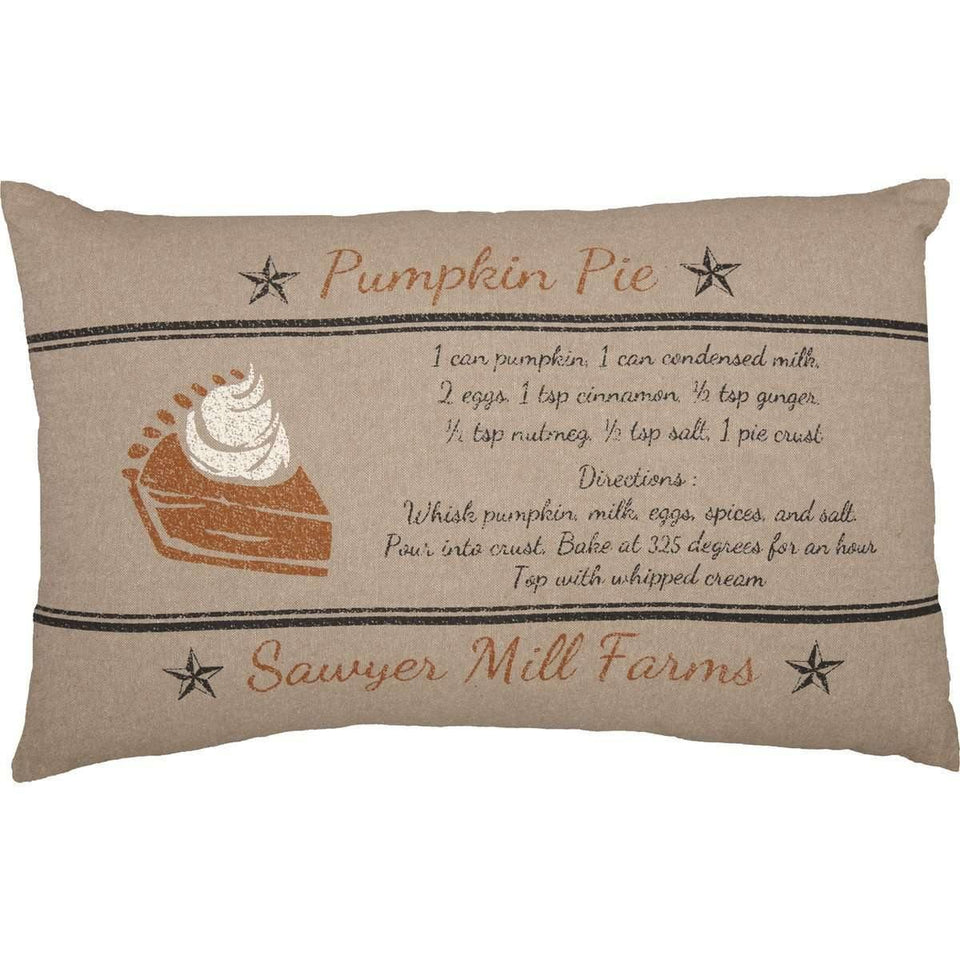 Sawyer Mill Charcoal Pumpkin Pie Recipe Pillow 14x22 VHC Brands front