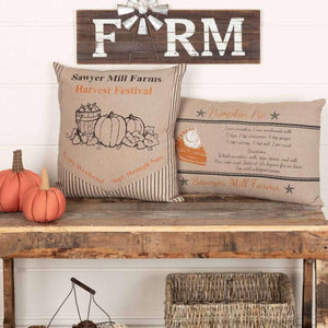 Sawyer Mill Charcoal Pumpkin Pie Recipe Pillow 14x22 VHC Brands online