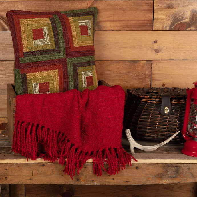Tea Cabin Log Cabin Hooked Pillow 18