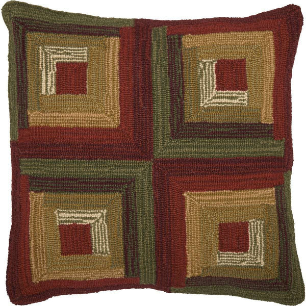 "Tea Cabin Log Cabin Hooked Pillow 18""x18"" - The Fox Decor"