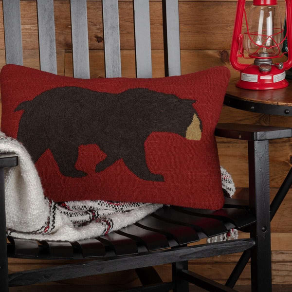 "Wyatt Bear Hooked Pillow 14""x22"" - The Fox Decor"