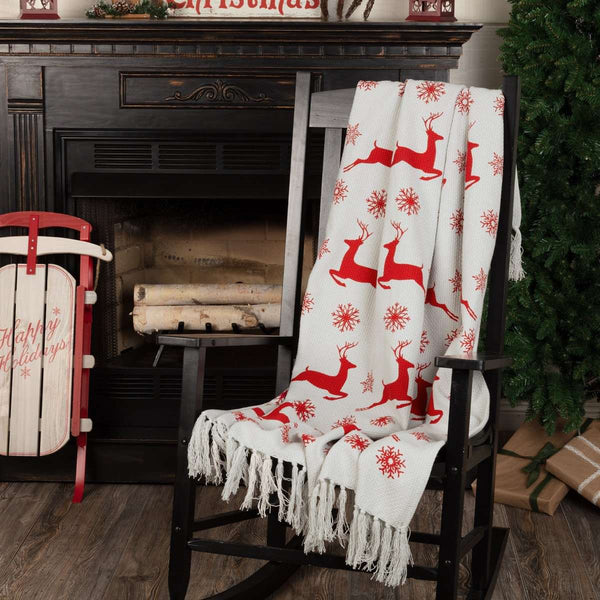 "Reindeer Dash Woven Throw 60"" x 50"" Grey, Red VHC Brands - The Fox Decor"