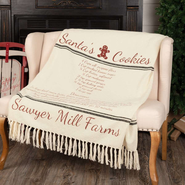 "Sawyer Mill Santa Cookies Woven Throw 60"" x 50"" Creme, Red, Grey VHC Brands - The Fox Decor"