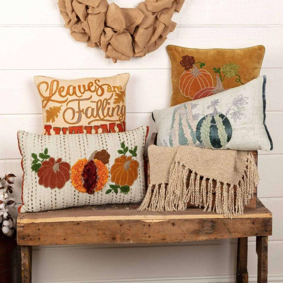 Embroidered Gourd Pillow 14x22 VHC Brands online