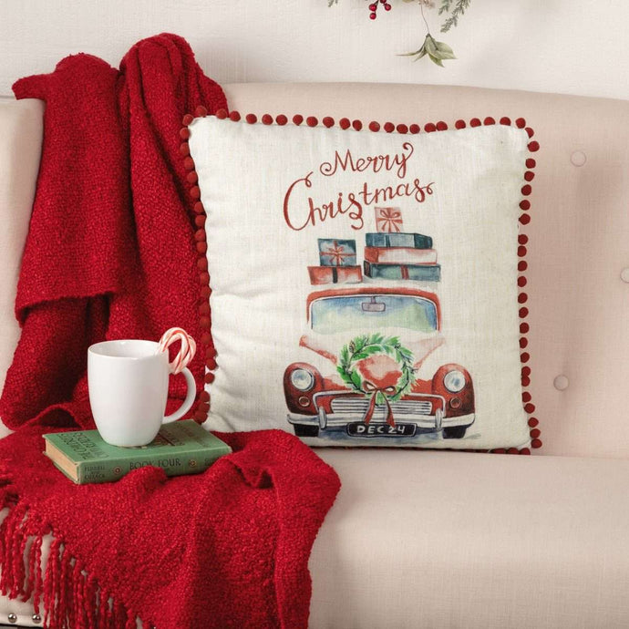 Merry Christmas Red Truck Pillow 18