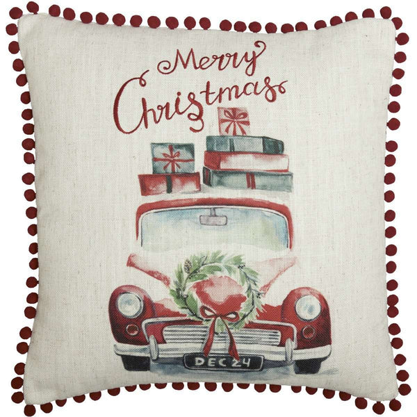 "Merry Christmas Red Truck Pillow 18"" - The Fox Decor"