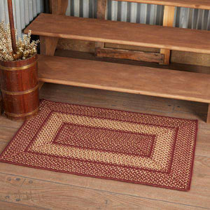 Burgundy Red Primitive Jute Braided Rugs Rect VHC Brands - The Fox Decor