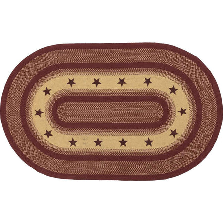 Burgundy Red Primitive Stencil Stars Jute Braided Rugs Oval VHC Brands - The Fox Decor