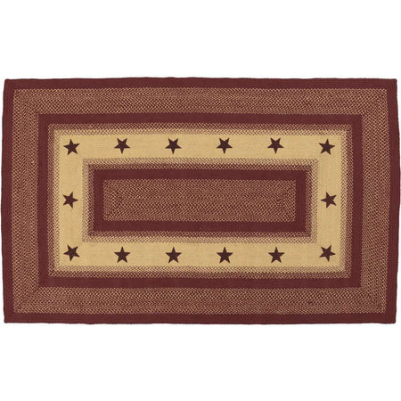 Burgundy Red Primitive Stencil Stars Jute Braided Rugs Rect VHC Brands - The Fox Decor