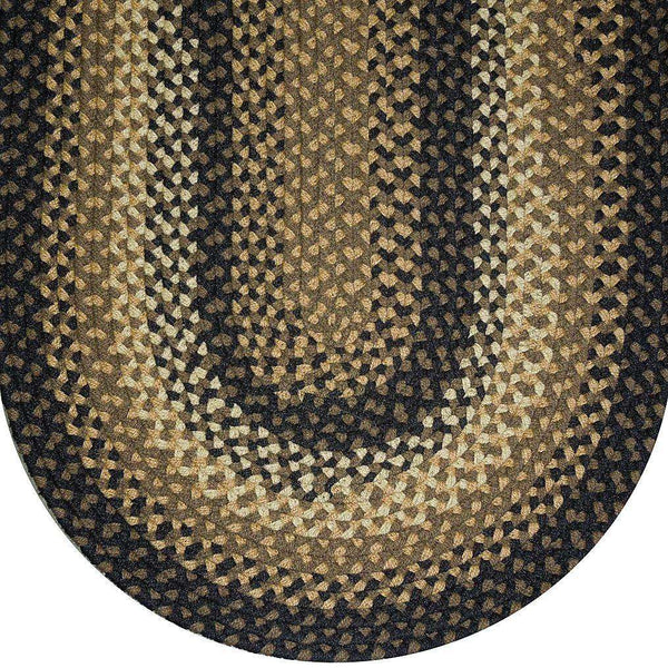 841 Black Basket Weave Braided Rugs Oval/Round
