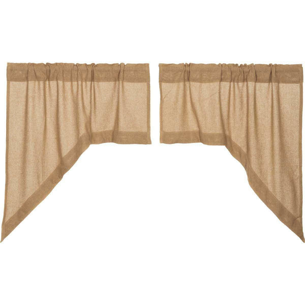 Burlap Natural Swag Curtain Set of 2 36x36x16