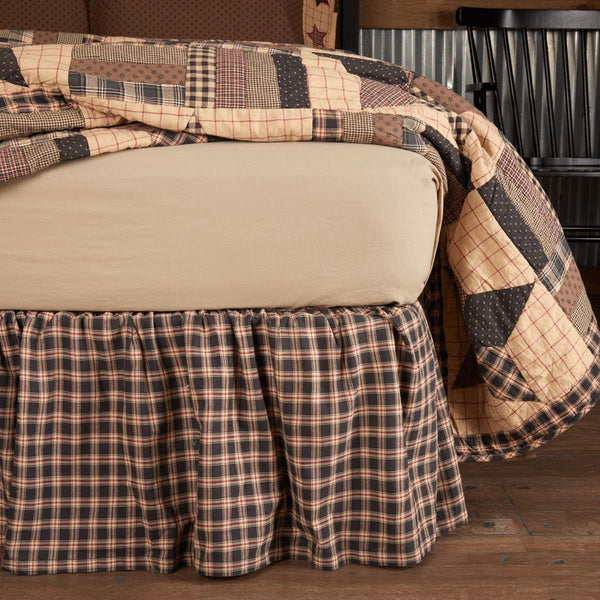 Bingham Star Bed Skirts Soft Black, Khaki, Barn Red VHC Brands - The Fox Decor