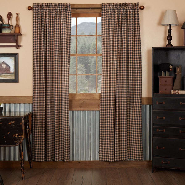 "Bingham Star Panel Plaid Country Style Curtain Set of 2 84""x40"" - The Fox Decor"