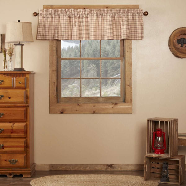 "Tacoma Valance Curtain 16"" x 72"" Creme, Barn Red VHC Brands - The Fox Decor"