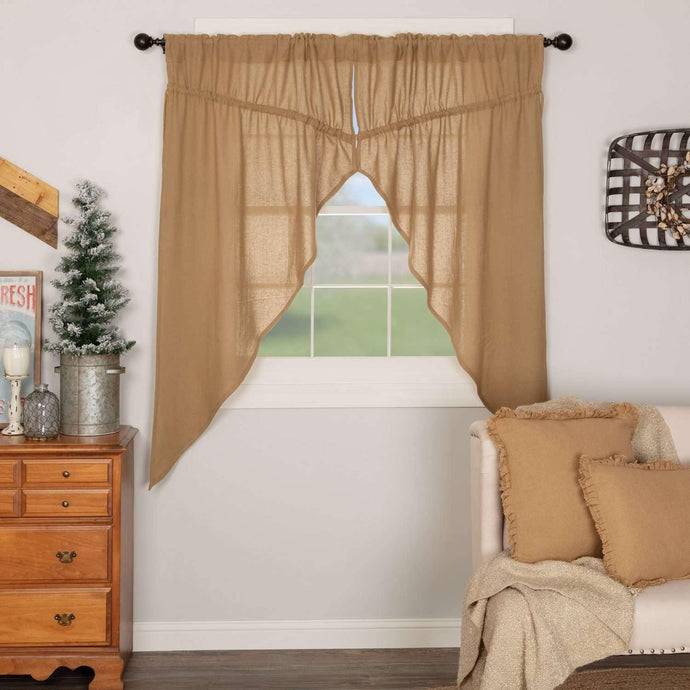 Burlap Natural Prairie Short Panel Curtain Set of 2 63x36x18