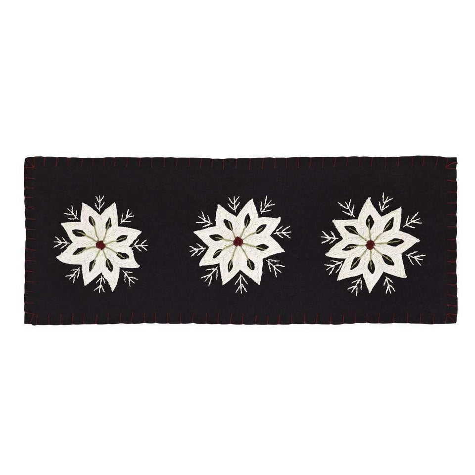 Christmas Snowflake Runner Felt Embroidery 8x24 VHC Brands