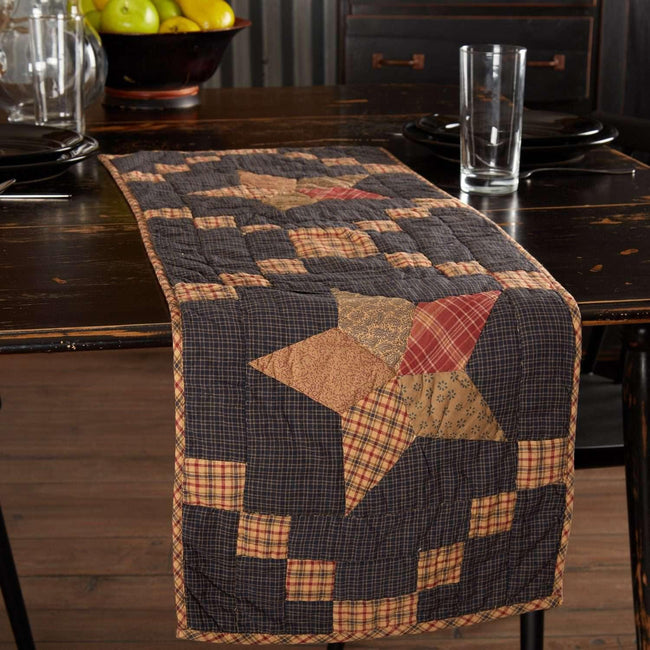 Arlington Runner Quilted Patchwork Star 13x36 VHC Brands