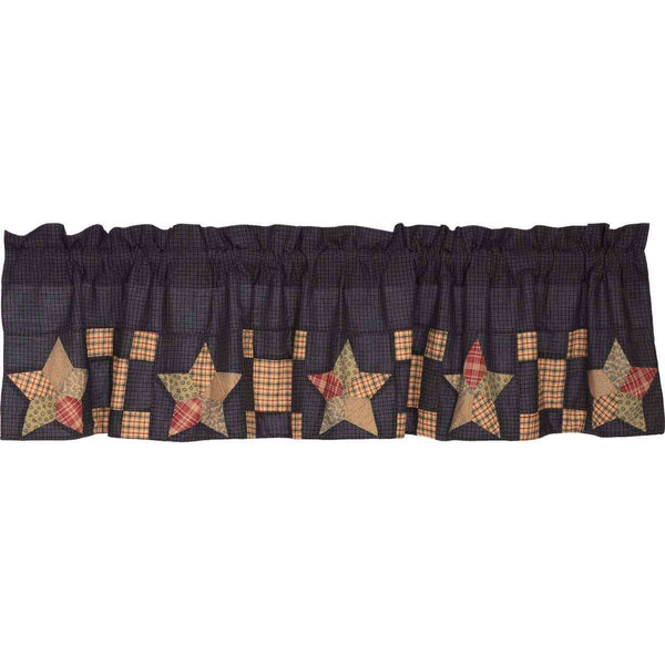 Arlington Valance Curtain Block Border Navy VHC Brands - The Fox Decor