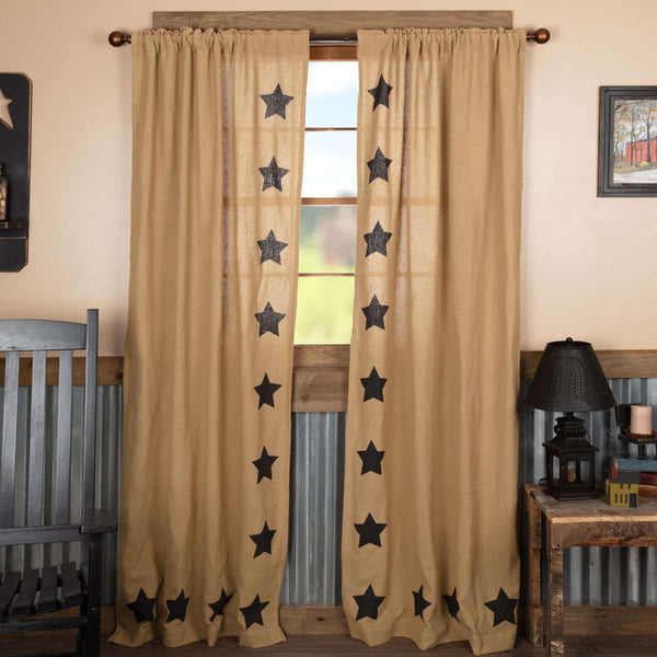 "Burlap w/Black Stencil Stars Panel Country Curtain Set of 2 84""x40"" - The Fox Decor"