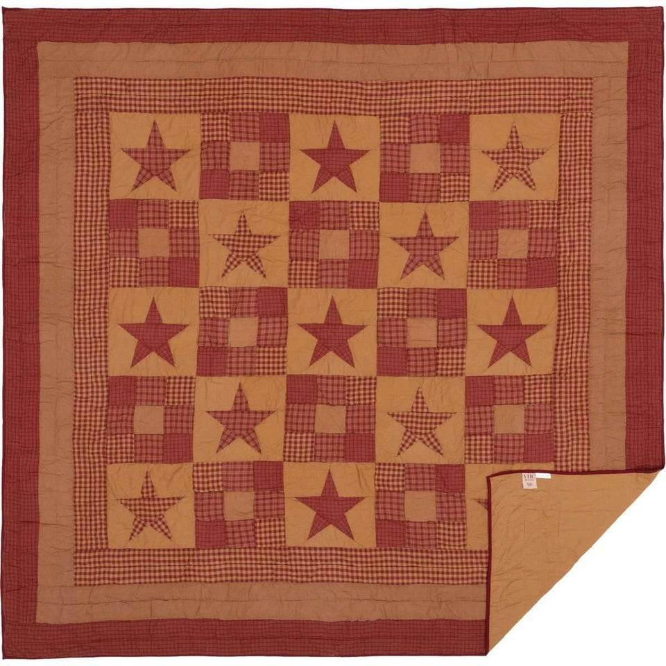 Ninepatch Star Queen Quilt 90Wx90L VHC Brands full